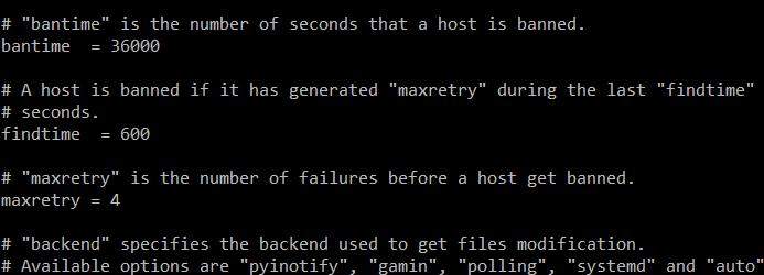 fail2ban failed login configure